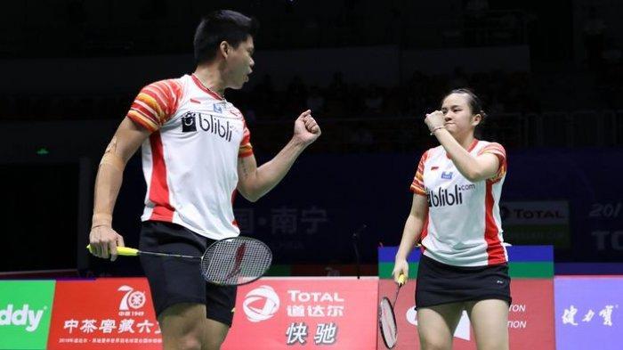 Praveen Jordan/Melati Daeva Oktavianti melakoni laga perempat final di Guangxi Sports Center, Nanning, China, Jumat (24/5/2019).