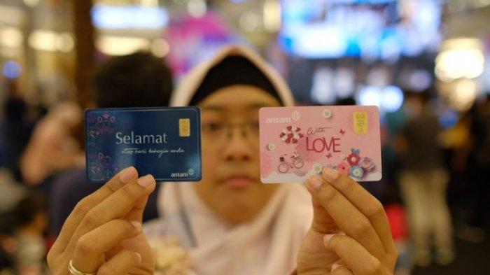 PT Aneka Tambang Tbk (Antam) melalui Unit Bisnis Pengolahan dan Pemurnian Logam Mulia (UBPP LM) meluncurkan produk emas batangan Gift Series di Jakarta, Minggu (28/4/2019).