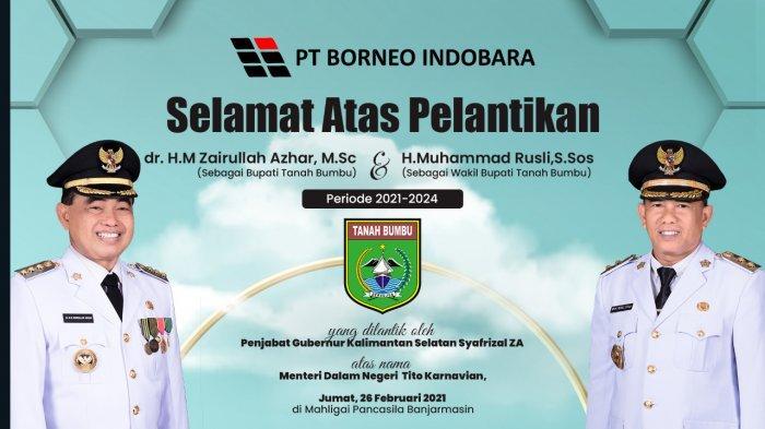 PT Borneo Indobara Mengucapkan Selamat atas Pelantikan Bupati dan Wakil Bupati Tanahbumbu