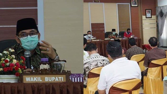 Wakil Bupati HSS Syamsuri Arsyad memimpin rapat persiapan Porprov Kalsel 2022 yang berlangsung di HSS, Minggu (14/3/2021).