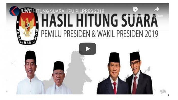 UPDATE Real Count KPU Pilpres 2019 Terbaru Minggu (19/5) Pukul 21.00 WIB, Data Jokowi & Prabowo 90 %