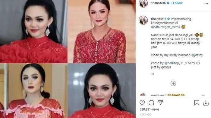 Permak Habis Wajah Demi Serupa Krisdayanti, Potret Rina Nose Pakai Gaun Merah Disorot