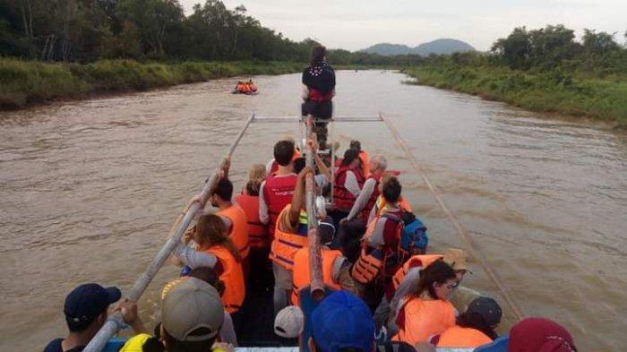 Rombongan turis susur sungai di kawasan Wisata Hutan Bekantan Panjaratan, beberapa waktu lalu.