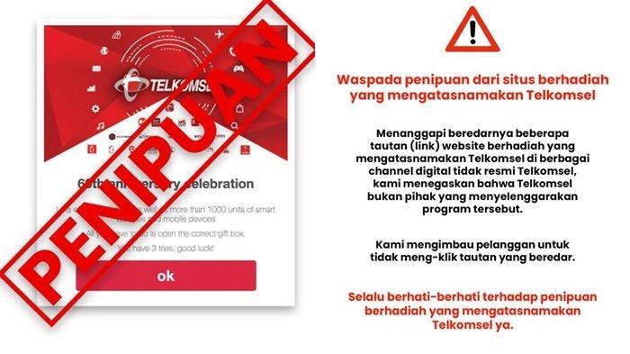 WASPADA Penipuan 60th Anniversary Celebration Berlogo Telkomsel, Jangan Klik Tautannya
