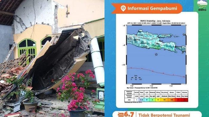 Salah satu rumah yang rusak akibat gempa di Malang, Jawa Timur, Sabtu (10/4/2021). BMKG pun mengabarkan lewat instagram dan twitter soal gempa yang melanda sebagian Pulau Jawa berkekuatan 6,7 M hari ini.