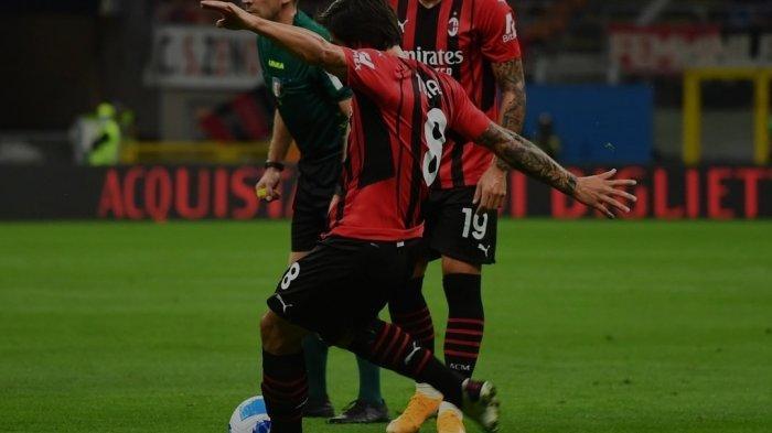 Sandro Tonali mencetak gol debutnya bersama AC Milan dalam laga pekan kedua Liga Italia 2021-2022 melawan Cagliari