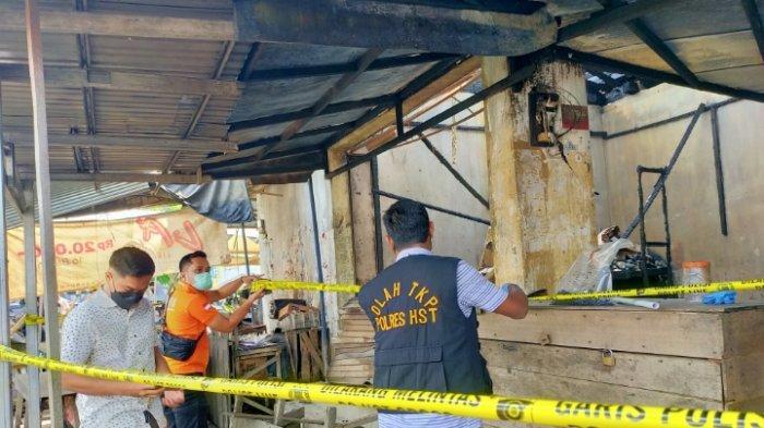 Kebakaran di Kalsel, Polres HST Olah TKP di Pasar Keramat Barabai, Penyebab Api Belum Diketahui