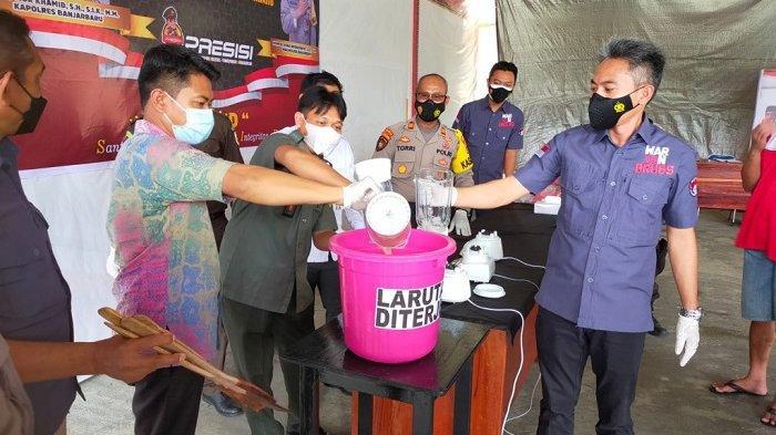 Pemusnahan Narkoba di Polres Banjarbaru, Sabu dan Ekstasi di Blender Lalu Dimasukan ke Toilet
