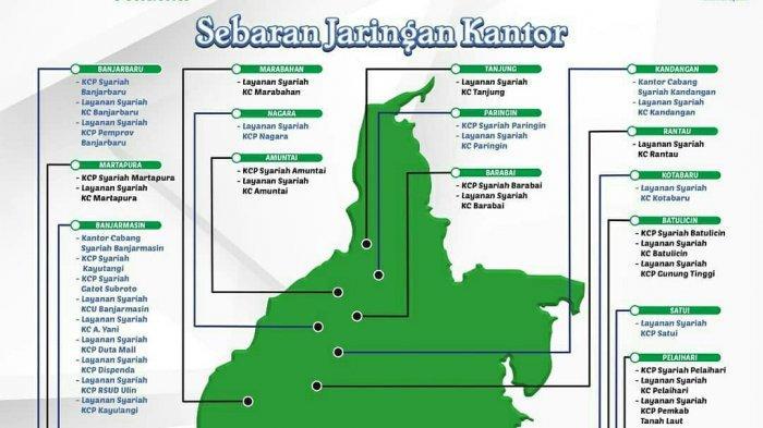Jaringan Kantor Bank Kalsel Syariah Tersebar di 16 Kabupaten/Kota di Indonesia