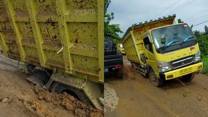 Truk Angkutan Amblas di Jalan Desa Karatungan, Jalur Birayang-Limpasu Makin Rusak