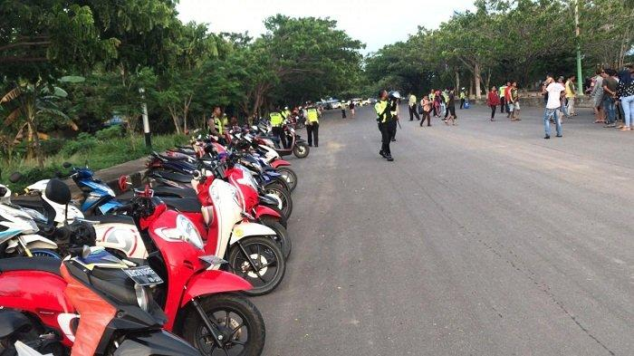 RTH Rantau Baru Dijadikan Arena Balapan Liar, Satlantas Polres Tapin Amankan Ratusan Sepeda Motor