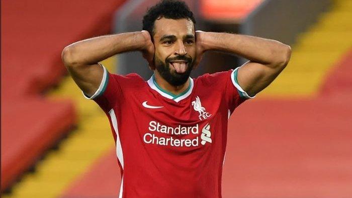 Selebrasi striker Liveprool, Mohamed Salah, seusai menjebol gawang Leeds United pada pekan pertama Liga Inggris 2020-2021.