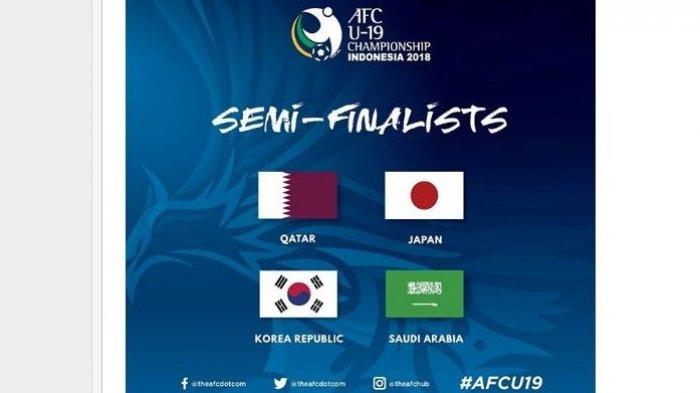 Jadwal Siaran Langsung Fox Sports Semifinal Piala AFC U19 2018 Qatar vs Korsel, Jepang vs Arab Saudi