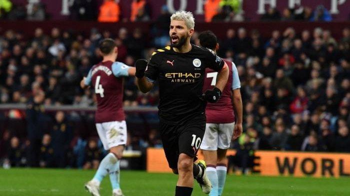 Sergio Aguero merayakan gol yang dicetaknya ke gawang Aston Villa pada pertandingan pekan ke-22 Liga Inggris, Minggu (12/1/2020) saat masih membela Manchester City.