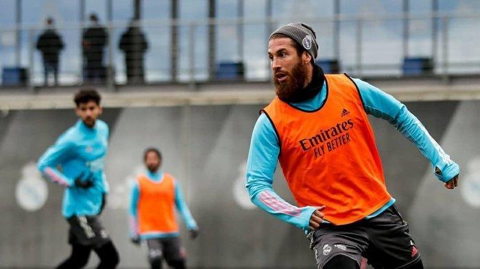 Sergio Ramos latihan jelang laga Liga Champions Real Madrid vs Moenchengladbach