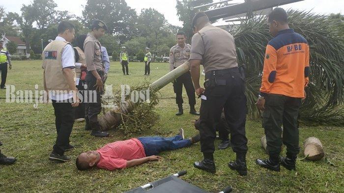 Seorang Tertimpa Pohon, Rupanya Hanya Skenario Simulasi Penanganan Bencana di HST Kalsel
