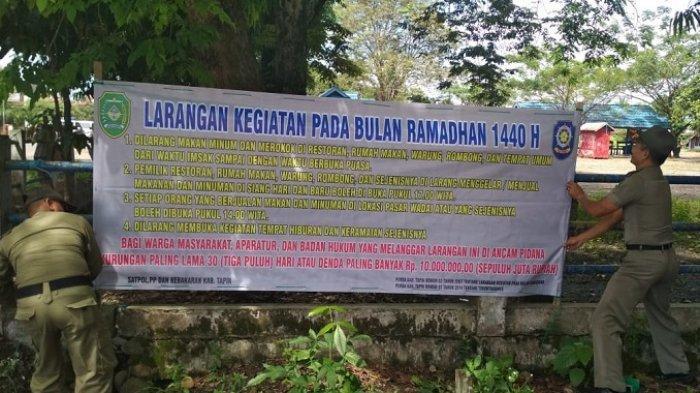 Jelang Ramadan 1440 H, Satpol PP Tapin Gencar Sosialisasi Larangan Warung Makan dan Hiburan