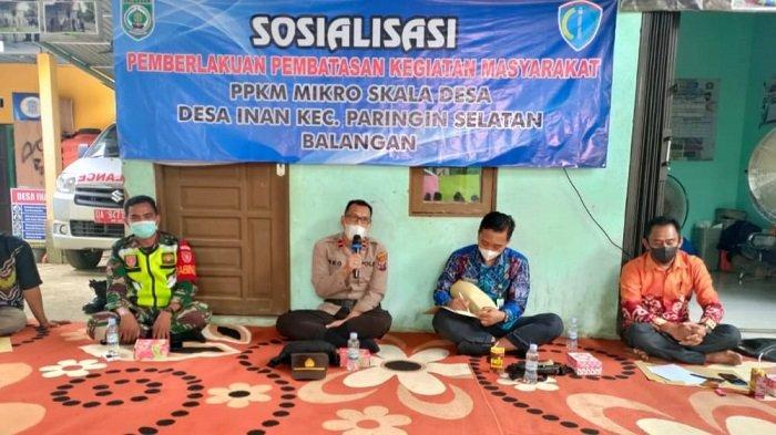 Satgas Covid-19 Kecamatan Paringin Kunjungi Desa Inan, Sosialisasikan PPKM Mikro dan Prokes