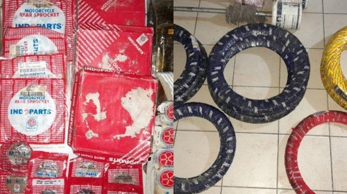 Di antara barang curian, spare part kendaraan, yang telah diamankan Polsek Banjarbaru Timur, Cempaka, Kota Banjarbaru, Kalimantan Selatan, Selasa (27/4/2021).