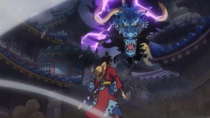 Salah satu cuplikan di One Piece saat Luffy berhadapan dengan Kaido.
