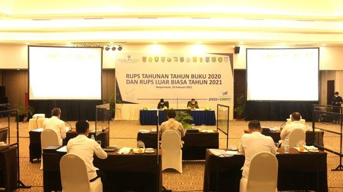 Suasana Rapat Umum Pemegang Saham (RUPS) Bank Kalsel untuk Tahun Buku 2020 dan RUPS Luar Biasa (LB) Tahun 2021 di Banjarmasin, Rabu (10/2/2021).
