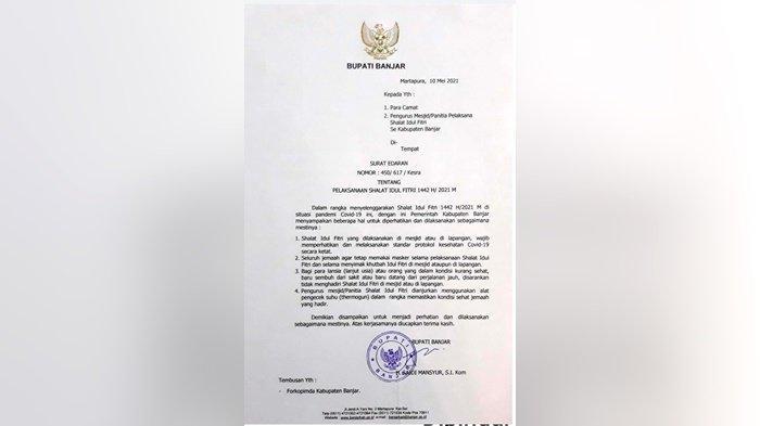 Pemerintah Kabupaten Banjar Ingin Salat Idul Fitri Sesuai Protoko Kesehatan