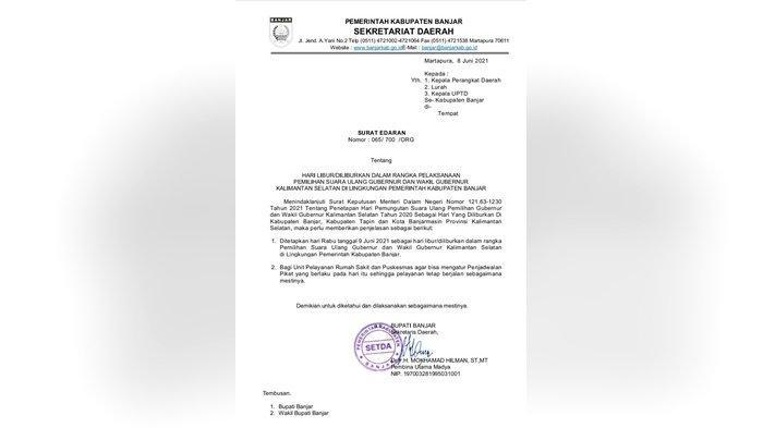 Pegawai Pemkab Banjar Diliburkan Demi PSU Pilgub Kalsel