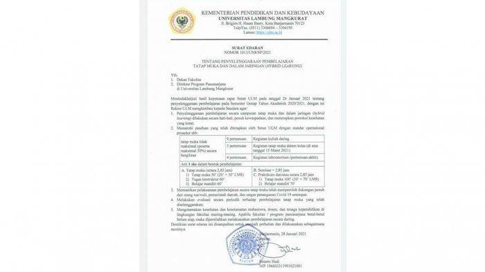 ULM Bakal Lakasanakan Belajar Tatap Muka Pertengahan Maret 2021, Begini Mekanismenya