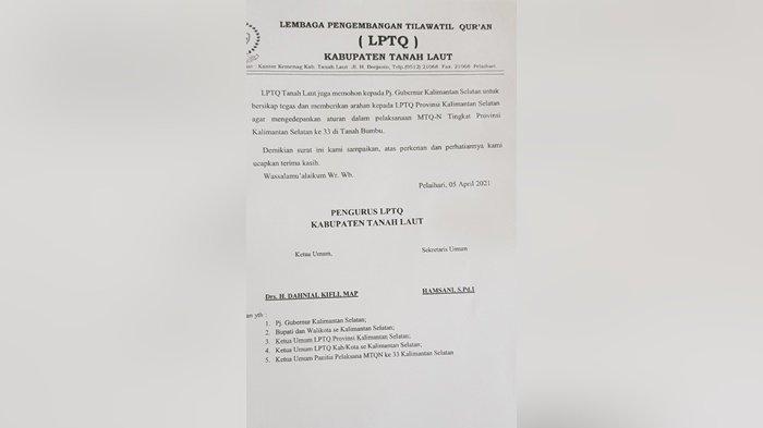 Surat pernyataan Lembaga Tilawatil Quran (LPTQ) Kabupaten Tanah Laut (Tala) mundur dari ajang MTQ ke-33 tingkat Provinsi Kalimantan Selatan, Selasa (6/4/2021).