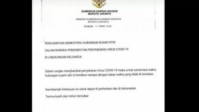 Surat Seruan Gubernur DKI Soal Setop Sementara Hubungan Suami Istri Cegah Covid-19 Ternyata Hoaks