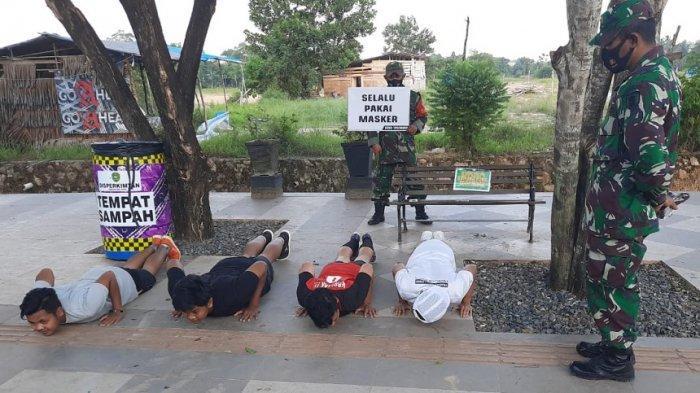Empat Remaja Disanksi Push Up, Kedapatan Tak Pakai Masker di Kawasan RTH Rantau Baru Tapin