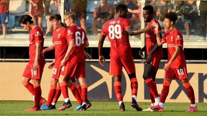 Pertandingan pra-musim Liverpool vs Mainz 05 di Salzburg, Austria Jumat (23/7). Dalam laga ini Takumi Minamino dkk menang dengan skor tipis 1-0