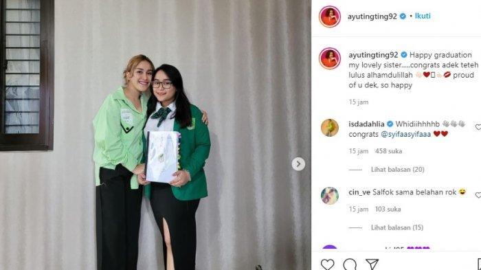 Tampilan Syifa adik Ayu Ting Ting saat lulus skripsi disorot