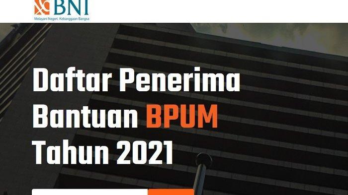 Tampilan web banpresbpum.id untuk mengecek penerima BLT UMKM 2021.
