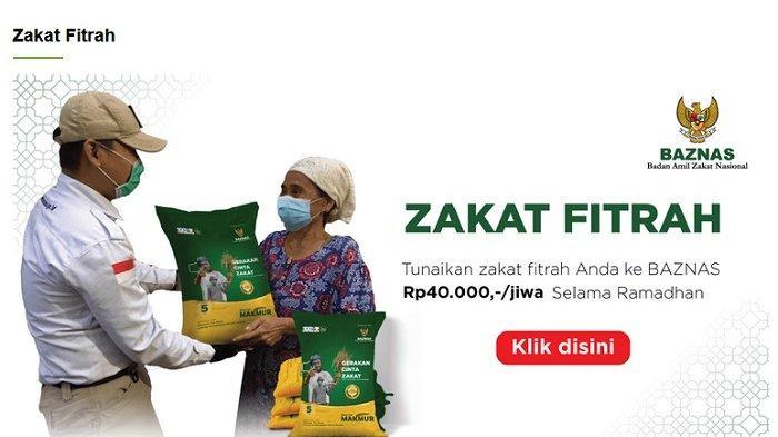 Tangkap layar https://baznas.go.id/zakatfitrah. Bayar zakat fitrah 2021 kini bisa dilakukan secara online di sejumlah platform digital, salah satunya platform digital milik Baznas.