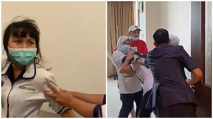 Tangkap layar video pria aniaya perawat di sebuah RS di Palembang.