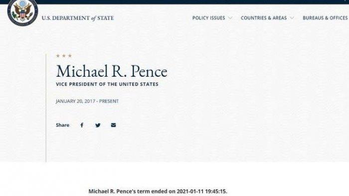 Tangkapan layar dari pengumuman di situs web Kementerian Luar Negeri AS, tentang selesainya masa jabatan Wakil Presiden Amerika Serikat Mike Pence pada Senin 11 Januari 2021 pukul 19.45 waktu setempat. Tak lama kemudian keterangan ini dihapus, dan diduga akibat peretasan atau kesalahan teknis.