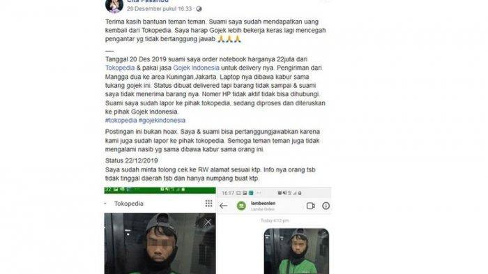 VIRAL Facebook, Driver Ojol Bawa Kabur Orderan Notebook Senilai Rp 22 Juta, Gojek: Itu Driver Kami!