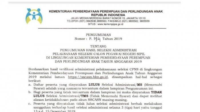203 Pelamar Lolos Seleksi Administrasi CPNS 2019 Kementerian PPPA, Ayo Login ke Sscasn.bkn.go.id