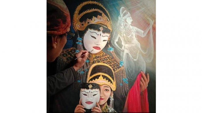Berpartisipasi di Pameran Lukisan di Taman Budaya Kalsel, Pelukis Kotabaru Angkat 'Tari Topeng'