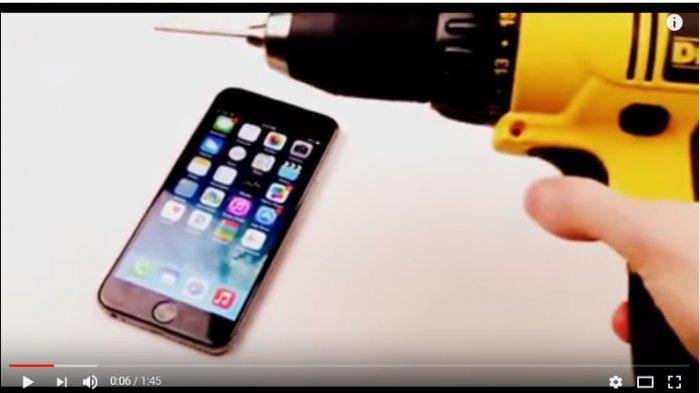 Tes uji ketahanan Iphone 6 menggunakan bor mesin