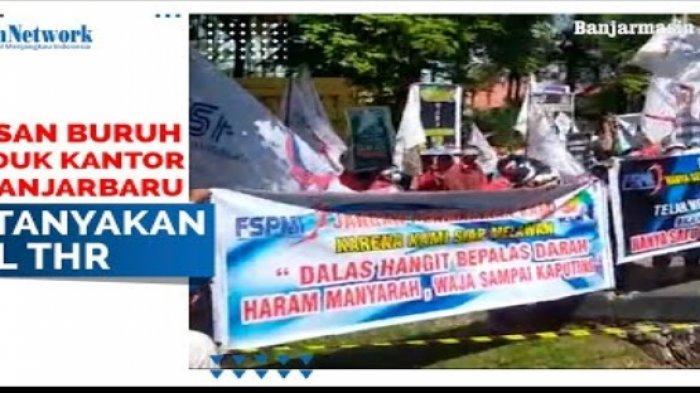 Ratusan buruh yang tergabung di Federasi Serikat Pekerja Metal Seluruh Indoensia (FAPMSI) Kalimantan Selatan menggelar aksi demo ke PT PLN Wilayah Kalselteng di Jalan Panglima Batur Banjarbaru pagi ini.