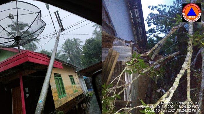 Hujan Disertai Angin Kencang di HSS Robohkan Pohon dan Tiang Listrik