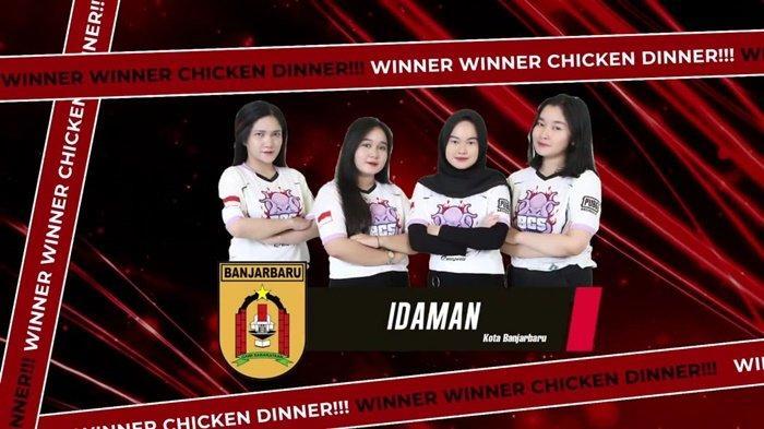 Tim PUBGM putri ESI Kota Banjarbaru meraih medali emas di Kejurprov ESI Kalsel 2021.