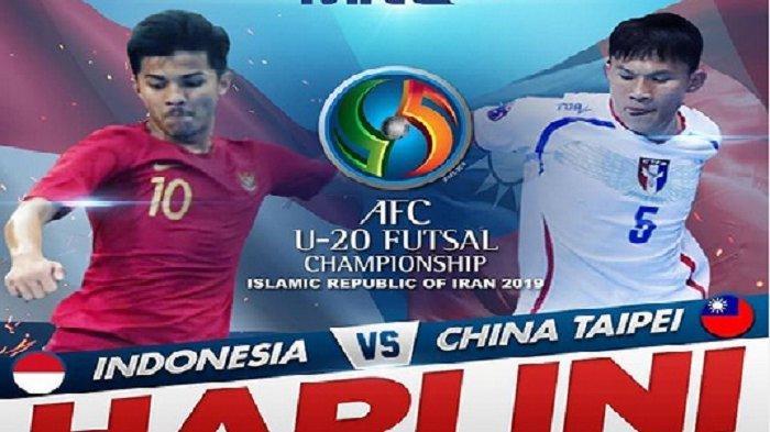 Berlangsung! Link Live Streaming MNC TV Futsal Timnas Indonesia vs Taiwan AFC Cup U-20 2019