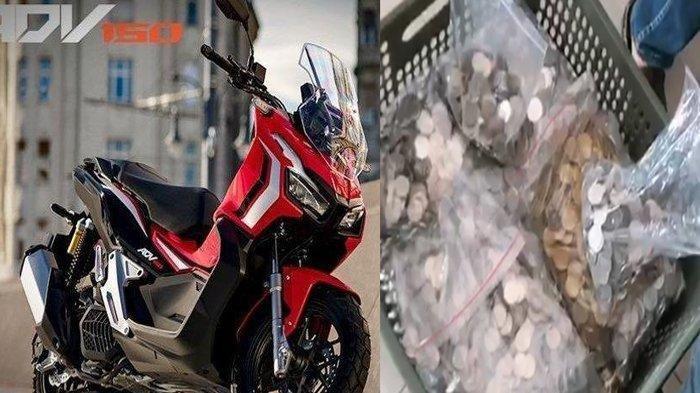 Bikin Heboh, Pria Ini Bawa Uang Logam Sekeranjang Buat Bayar DP Motor Honda ADV 150 CC Rp 14 Juta