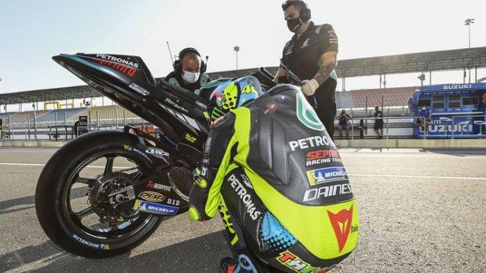 Valentino Rossi saat sesi tes Qatar jelang MotoGP 2021