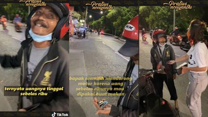 Bikin Mewek, Viral di Medsos Kisah Bapak Pilih Dorong Motor Mogok Kehabisan Bensin Demi Bisa Makan