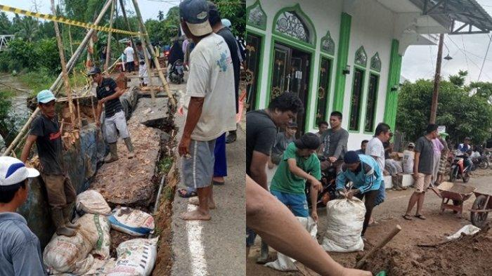 FrustasiMenanti Jalan Diperbaiki, Warga Ilung Pasar Lama HST Urunan Lalu Gotong Royong