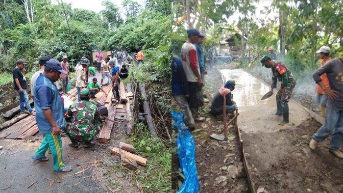 Rusak, JembatanPenghubung Dua Desa di Pengaron Banjar Gotong Royong Diperbaiki